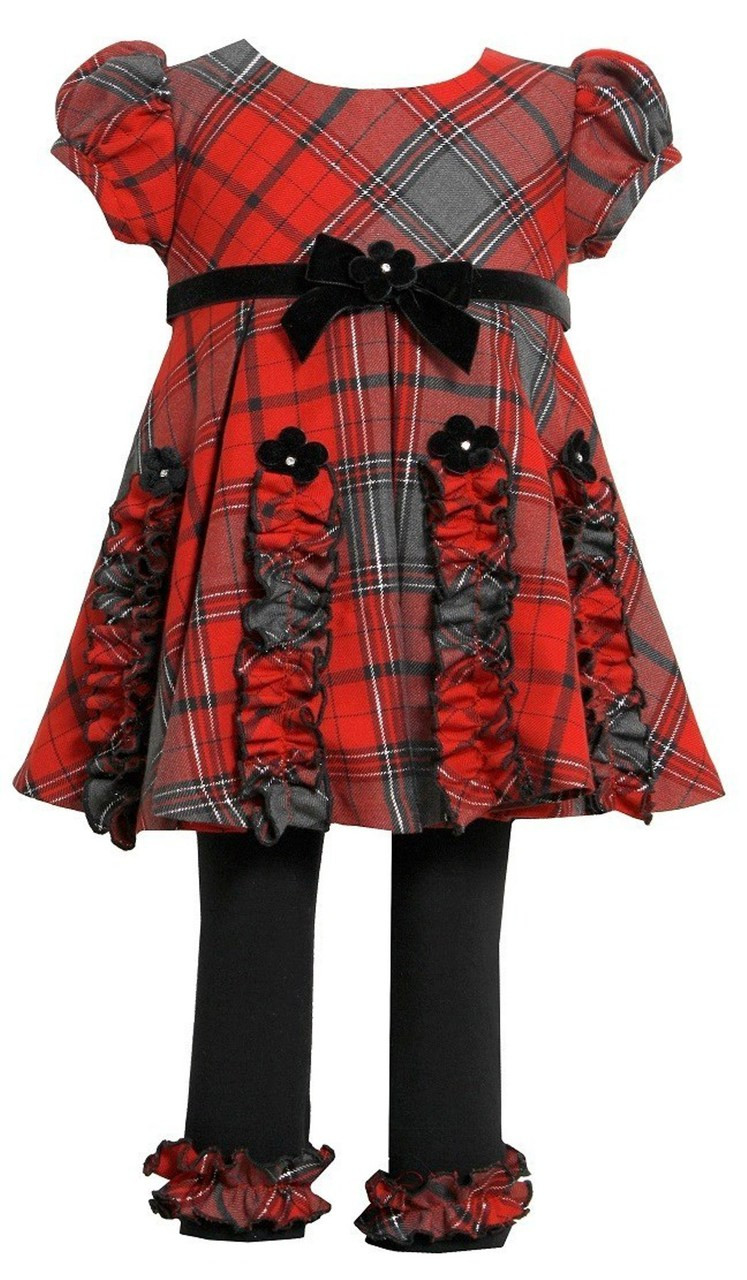 Bonnie Jean Christmas Outfits.Bonnie Jean Little Girls Christmas Ruched Plaid Dress Legging Outfit Red 2t 6x