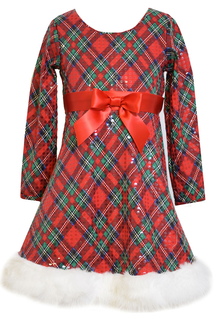 1f504f1c611e Bonnie Jean Christmas Holiday Plaid Sequin Santa Dress Girls 7-16. Image 1.  Loading zoom