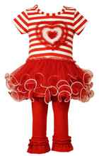 Bonnie Jean Valentine's Little Girls' Sequin RED Heart Tutu Legging Set 2T-6X