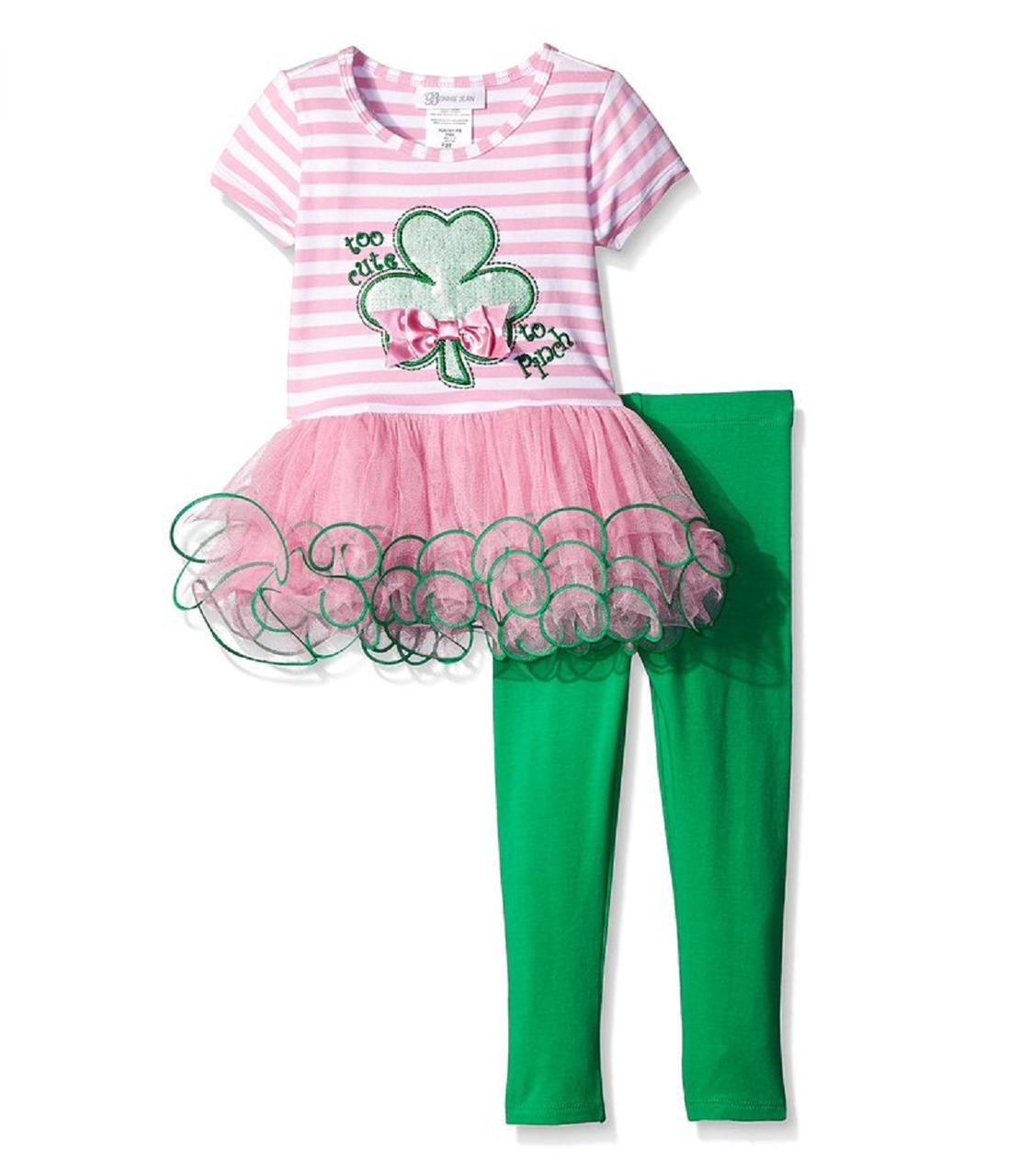 245cdc2b221 Bonnie Jean Baby Girls Green Clover St Patrick's Bow Pink Legging ...