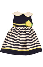 Bonnie Baby Girls' White Nautical Banded Striped Blue Dress 12 18 24 Months