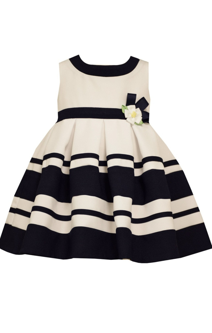 80159f31a1c Bonnie Baby Girls  White Nautical Easter Striped Blue Dress 12 18 24  Months. Image 1. Loading zoom