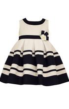Bonnie Baby Girls' White Nautical Easter Striped Blue Dress 12 18 24 Months
