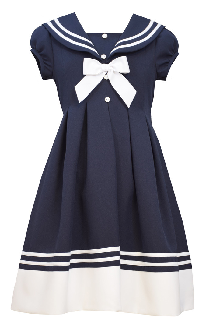 14e81c6104a Bonnie Jean Big Girls Bow Nautical Blue Navy Easter Uniforms Dress 7-16.  Image 1. Loading zoom