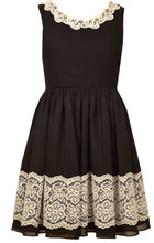 Bonnie Jean Special Occasion Big Girls' Knit To Lace Black Dress 7-16