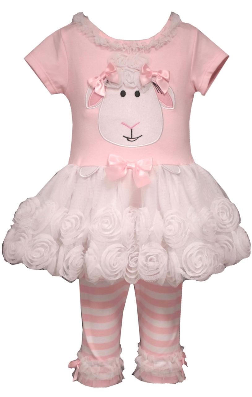 bde9514ffc7d Bonnie Jean Little girls Easter Lamb outfit Dress