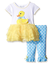 Bonnie Jean Little Girls Easter Holiday Yellow Ducky Tutu Dress Set  2T 3T 4T