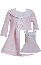 Bonnie Jean Baby Girls Pink Easter Holiday Bow Coat Dress Set 0-24 Months