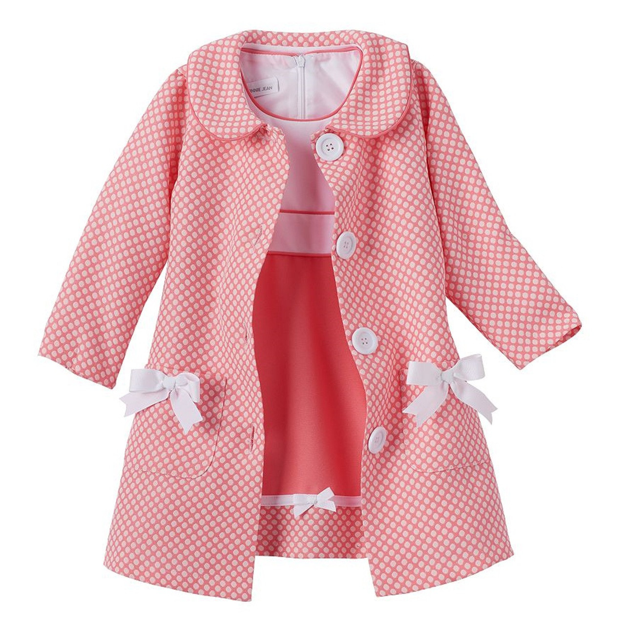7fbdcb4f66e Bonnie Jean Little Girls Coral Easter Holiday Bow Polka Coat Dress Set 2T -  6X