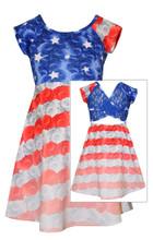 Bonnie Jean Girls 4th July Flag Americana Holiday Stars Stripes Red Blue 7-16