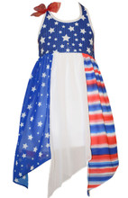 Bonnie Jean 4th July Patriotic Blue Red Americana Hanky Hem Dress Little Girls 4-6X