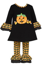 Bonnie Jean Baby Girl Halloween Candy Corn Pumpkin Outfit (0m-24m)