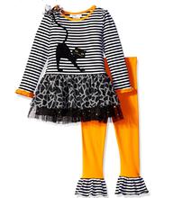 Bonnie Jean Girls' Stripe Knit Black Cat Appliqued Halloween Legging Set  2T-6X