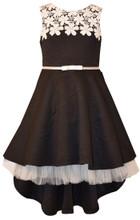 Bonnie Jean  Special Occasion Jacquard High Low Black Dress Big Girls 7-20 1/2
