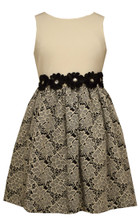 Bonnie Jean Solid to Lace Floral Jacquard Special Occasion Dress Girls 7-16