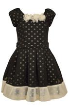 Bonnie Jean Dot Mesh Pleated Special Ocassion Black Dress Girls 7-16