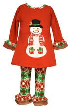 Bonnie Jean Baby Girls Holiday Christmas Santa Snowman Red Green Legging Set 0-24 Months