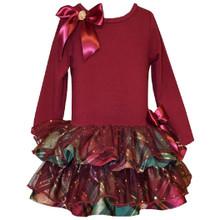 Bonnie Jean Baby Girls Holiday Metallic Tiered Drop-Waist Plaid Burgundy Dress 0-24 Months