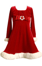 Bonnie Jean Bow Glitter Velvet Santa Holiday Christmas Red Dress Big Girls  7-16