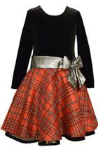Bonnie Jean Velvet Plaid Glitter Holiday Christmas  Red Dress Big Girls 7-16