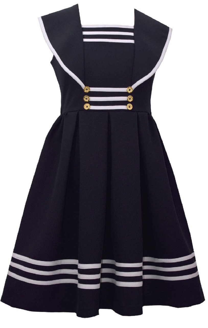 28bb01b8ef90 Bonnie Jean Big Girls Easter Holiday Uniforms Sailor Collar Gold Button  Nautical Navy Dress 7-20 1/2. Image 1. Loading zoom