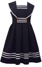 Bonnie Jean Big Girls Easter Holiday Uniforms Sailor Collar Gold Button Nautical Navy Dress 7-20 1/2