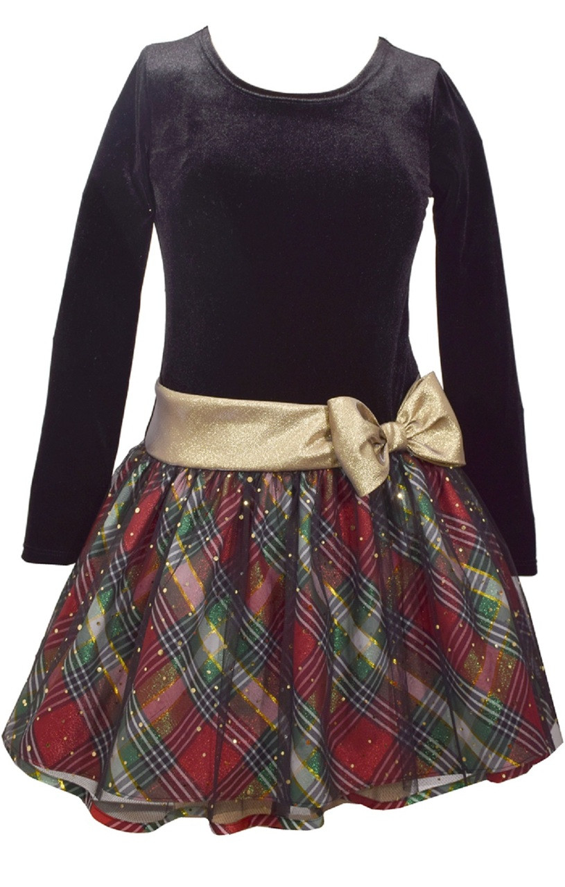 6ccbcc6c3eed Bonnie Jean Girls Plaid Sparkle Gold Bow Hipster Dress 2T-6X. Image 1.  Loading zoom