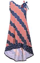 Bonnie Jean Big Girls Red White Navy Americana 4th July High Low Dress 7-20 1/2