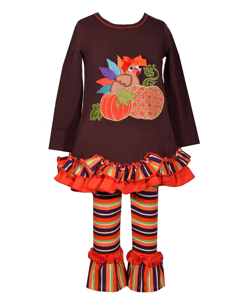 d2ec6770d7eaf Bonnie Baby Jean Girls Thanksgiving Brown Ribbon Turkey Legging Set 0-24  Months. Image 1. Loading zoom