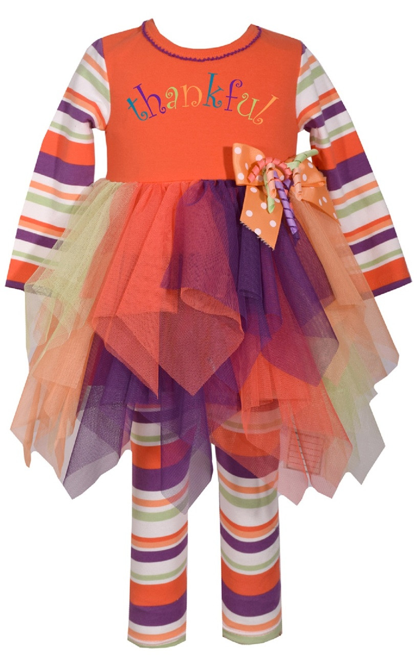 7ad1e301313d2 Bonnie Jean Girls' Appliqued Tutu Thanksgiving Orange Girls Legging Set  2T-6X. Image 1. Loading zoom