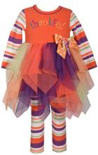 abbf39cb3df Bonnie Jean Girls  Appliqued Tutu Thanksgiving Orange Girls Legging Set ...
