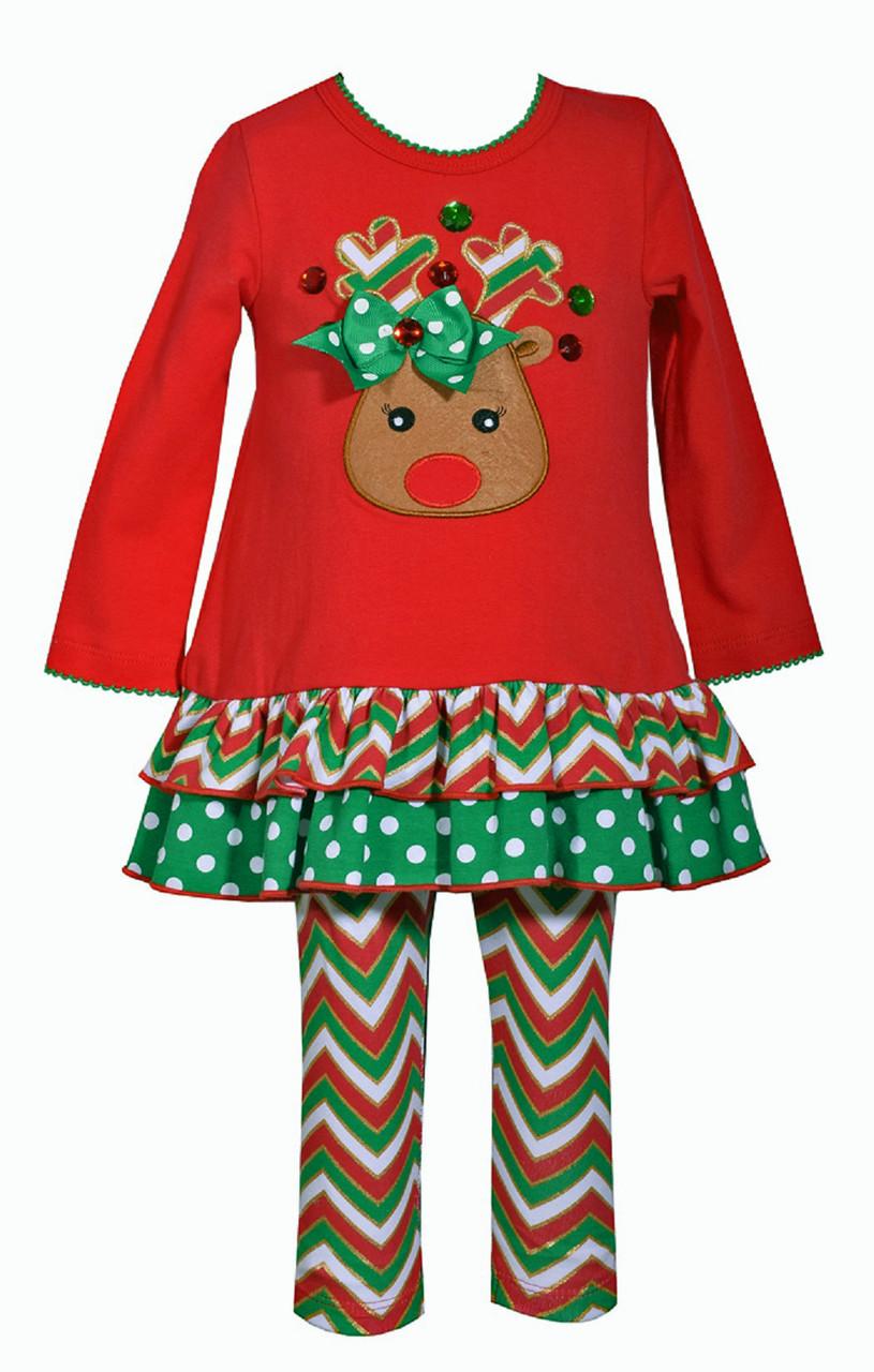 Bonnie Jean Christmas Santa Red Holiday Tutu Dress 2 pc set Little Girls 2T-6X