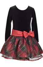 Bonnie Jean Christmas Santa Holiday Plaid Sparkle Red Bow Hipster Girls Dress 2T-6X