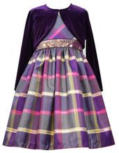 Bonnie Jean Christmas Santa Plaid Sleeveless Purple Dress & Cardigan Set Little Girls 2T-6X