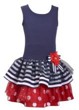 Bonnie Jean Little Girls Americana Navy Bow Flower Stripes Polka Dots Sleeveless Dress  2T 3T 4T