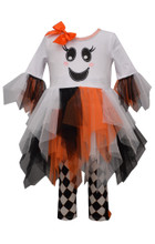 Bonnie Jean Baby Girls  Halloween Ghost Fit-And-Flare Dress & Harlequin Leggings Set 12 18 24 Months