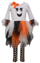 Bonnie Jean Girls  Halloween Ghost Fit-And-Flare Dress & Harlequin Leggings Set 2T-10
