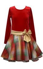 Bonnie Jean Holiday Christmas  RED Velvet Plaid Taffeta Drop-Waist Dress 7-16
