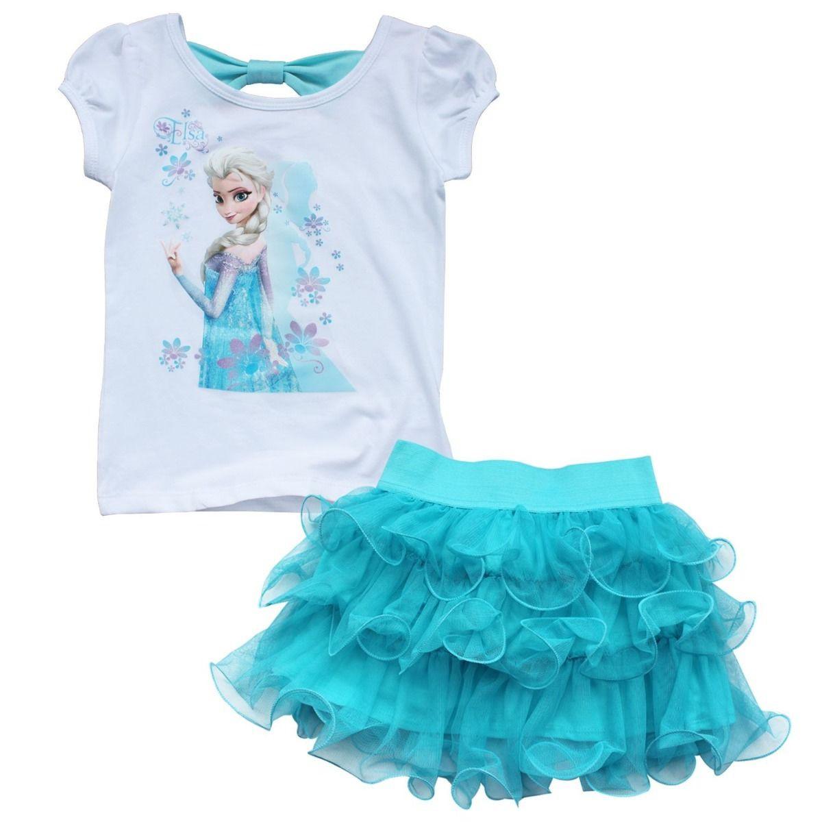 5258f8aa5 Frozen Girls Outfits Princess Queen Elsa T-shirt Top Tutu Skirt ...