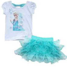 Frozen Girls Outfits Princess Queen Elsa T-shirt Top Tutu Skirt  size 6X