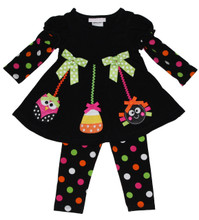 Bonnie Jean Girls Owl Spider Halloween Fall Dress Outfit Legging Set  0-24 Months