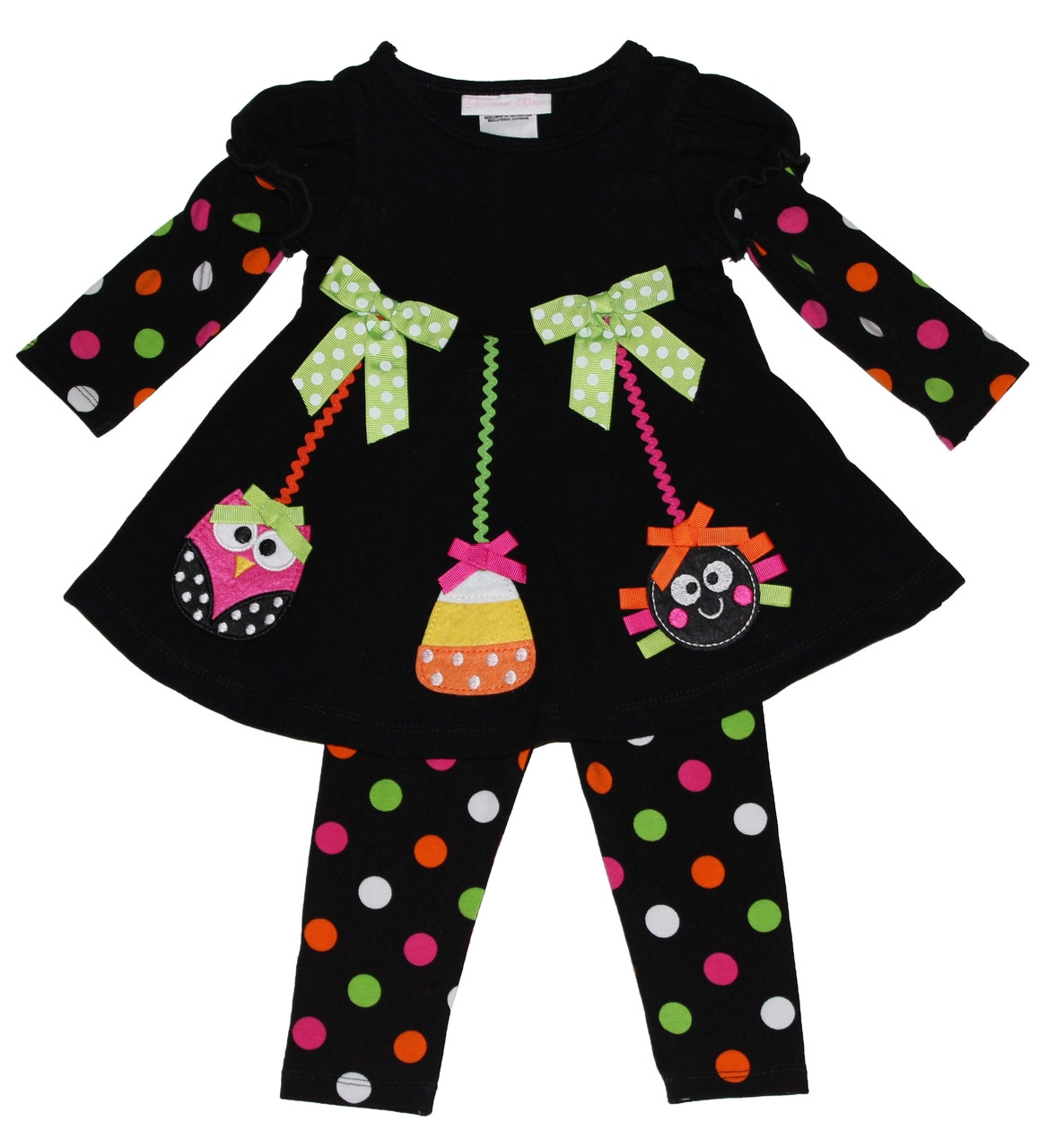 a30c95902426e Bonnie Jean Girls Owl Spider Halloween Fall Dress Outfit Legging Set 2T-6X