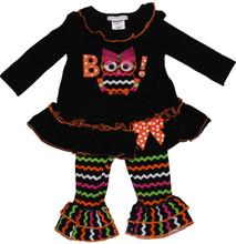 Bonnie Jean Girls Black Boo Owl Halloween Legging Outfit Set