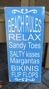 Beach Rules. Distressed. Blue and white.  Size 24x12. Comes with rear picture hanger.