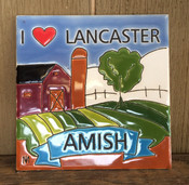 """This """"I Heart Lancaster, Amish"""" colorful ceramic tile is 6 x 6. It is inspired by the local Lancaster, PA countryside."""
