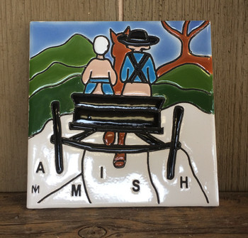 """This """"Amish Man and Woman"""" colorful ceramic tile is 6 x 6. It is inspired by the local Lancaster, PA countryside."""