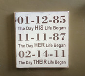 CUSTOMIZED ENGAGEMENT, WEDDING or ANNIVERSARY SIGN. SIZE 11x12. ANTIQUE WHITE AND BROWN. SLIGHTLY DISTRESSED.  The Day HIS Life Began The Day HER Life Began The Day THEIR Life Began