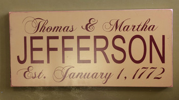 Personalize This Painted Wooden Sign Shape - 10(h) x 24 (w). Makes the perfect wedding, anniversary or engagement gift! This is an indoor wooden sign.