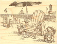 A Day At The Beach, Wood Mounted Rubber Stamp IMPRESSION OBSESSION - NEW, H1743