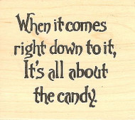 About The Candy Halloween Text, Wood Mounted Rubber Stamp NORTHWOODS- NEW, F8146
